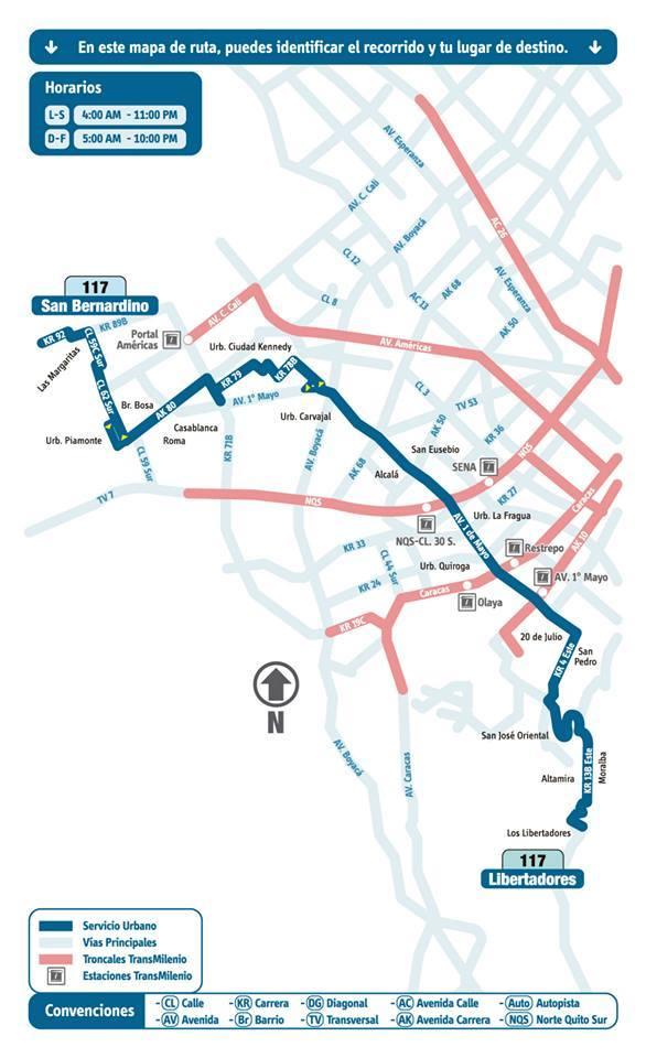 Mapa esquemático ruta urbana 117