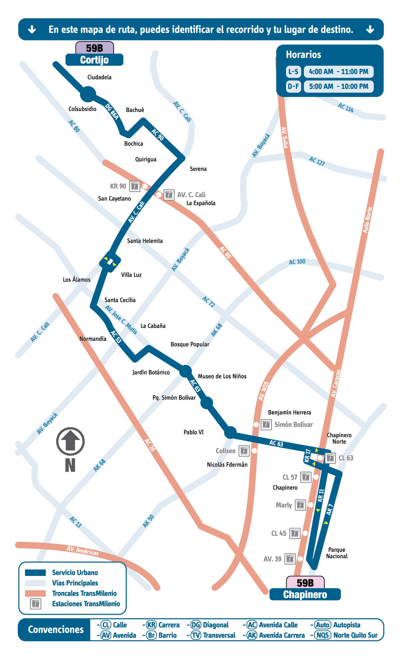 Mapa Esquemático Ruta Urbana 59B