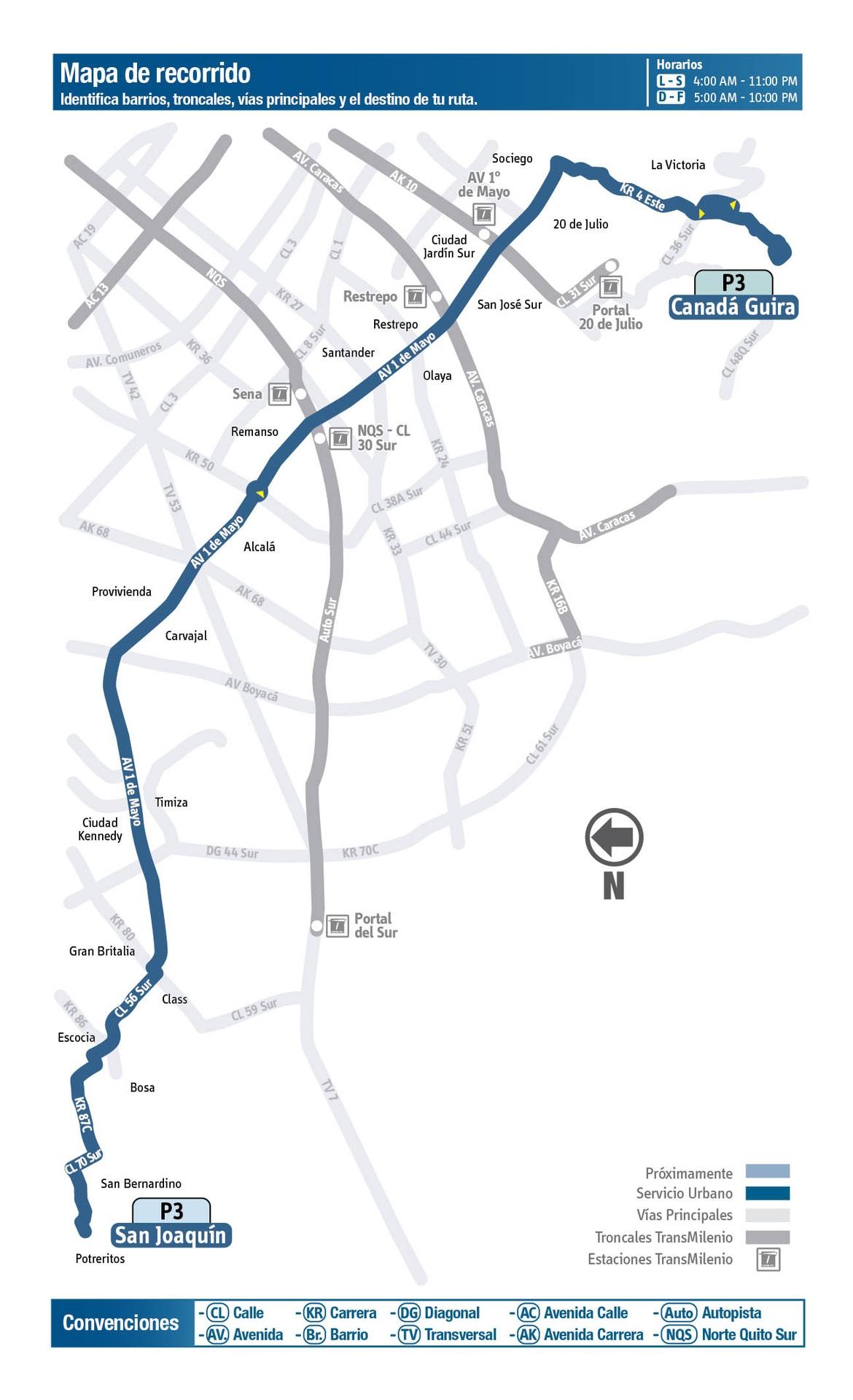 Ruta SITP: P3 Canada Güira ↔ San Bernardino Potreritos (San Joaquín) [Urbana] 2