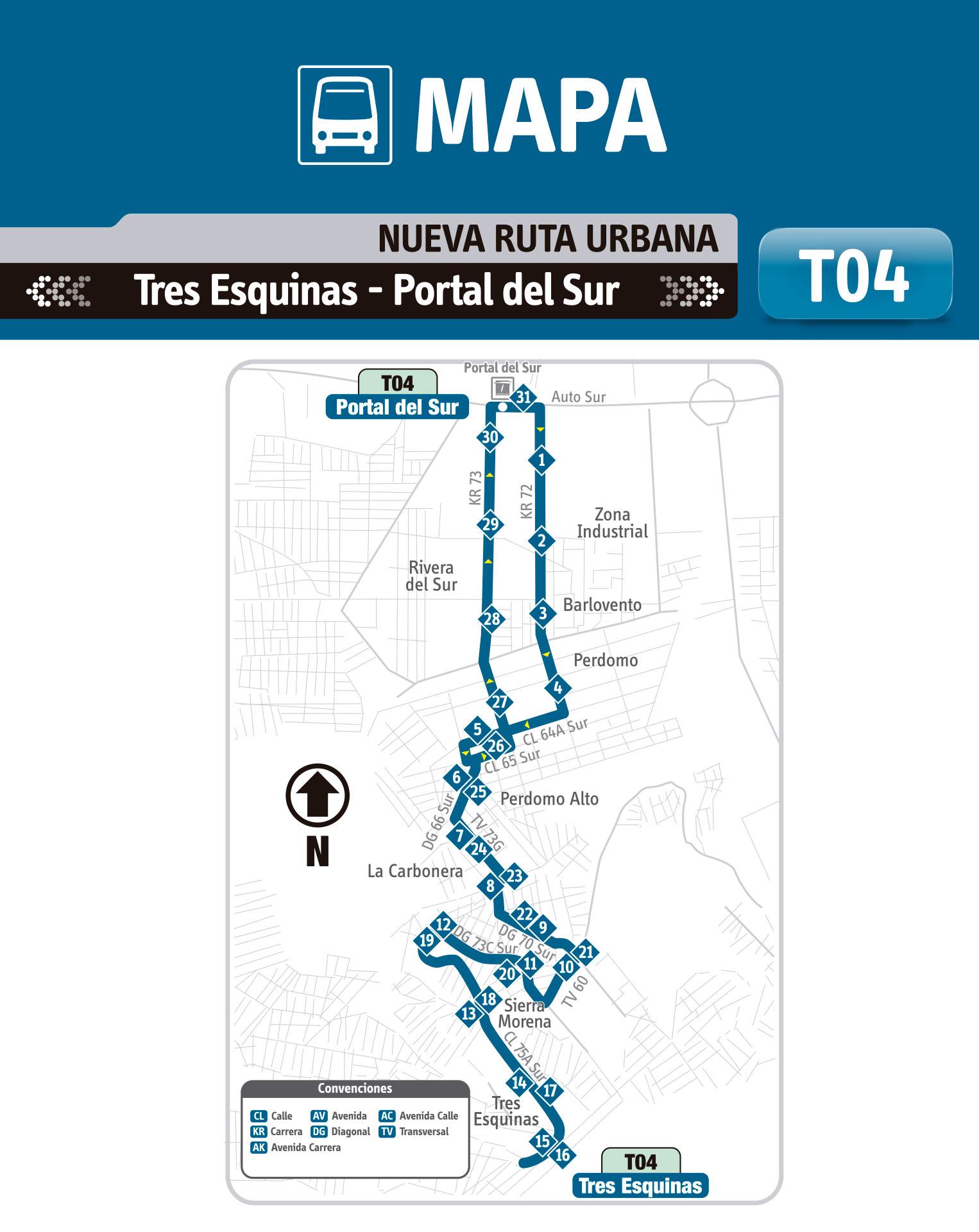 Ruta SITP: T04 Tres Esquinas ↔ Portal del Sur [Urbana - Temporal] 2