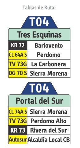 Ruta SITP: T04 Tres Esquinas ↔ Portal del Sur [Urbana - Temporal] 3