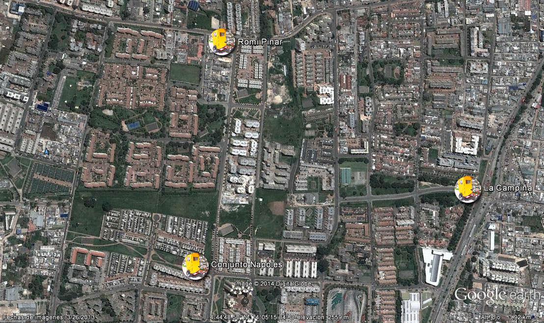 Ubicaciones Estratégicas de los BICITAXIS en la zona de la Campiña - Cortesía de Christian Farfán