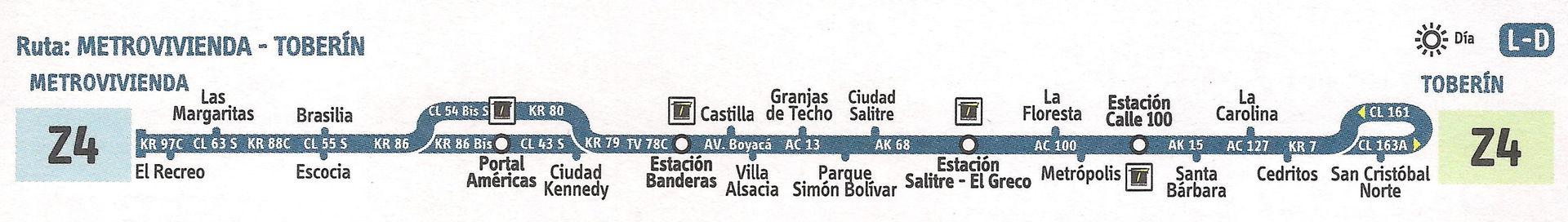Ruta SITP: Z4 Toberín ↔ Metrovivienda [Urbana] 2