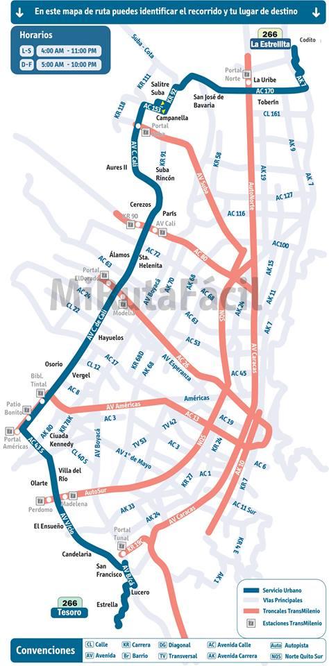 Mapa guía urbana 266 Tesoro - La Estrellita
