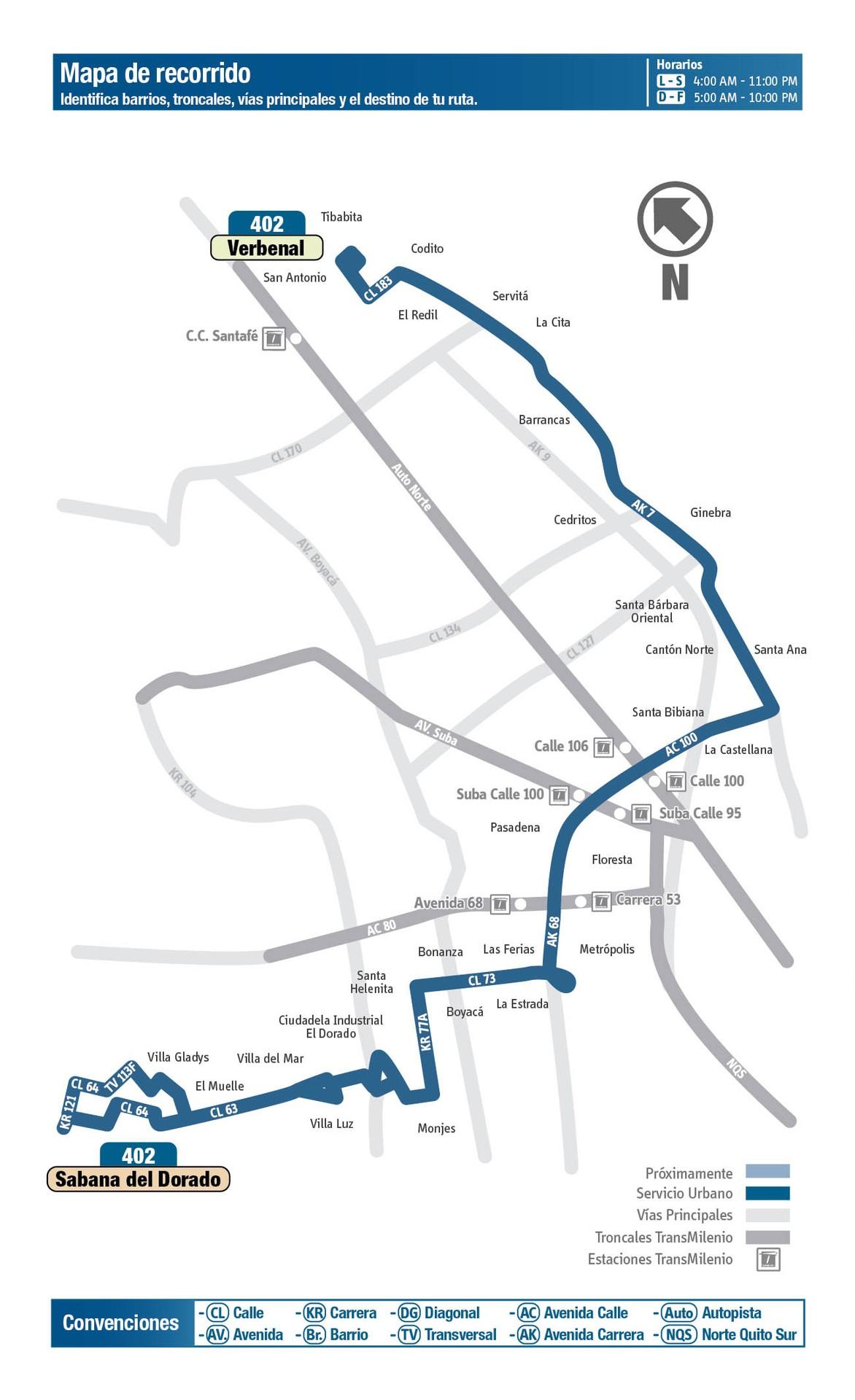 Ruta SITP: 402 Verbenal ↔ Sabana del Dorado [Urbana] 4