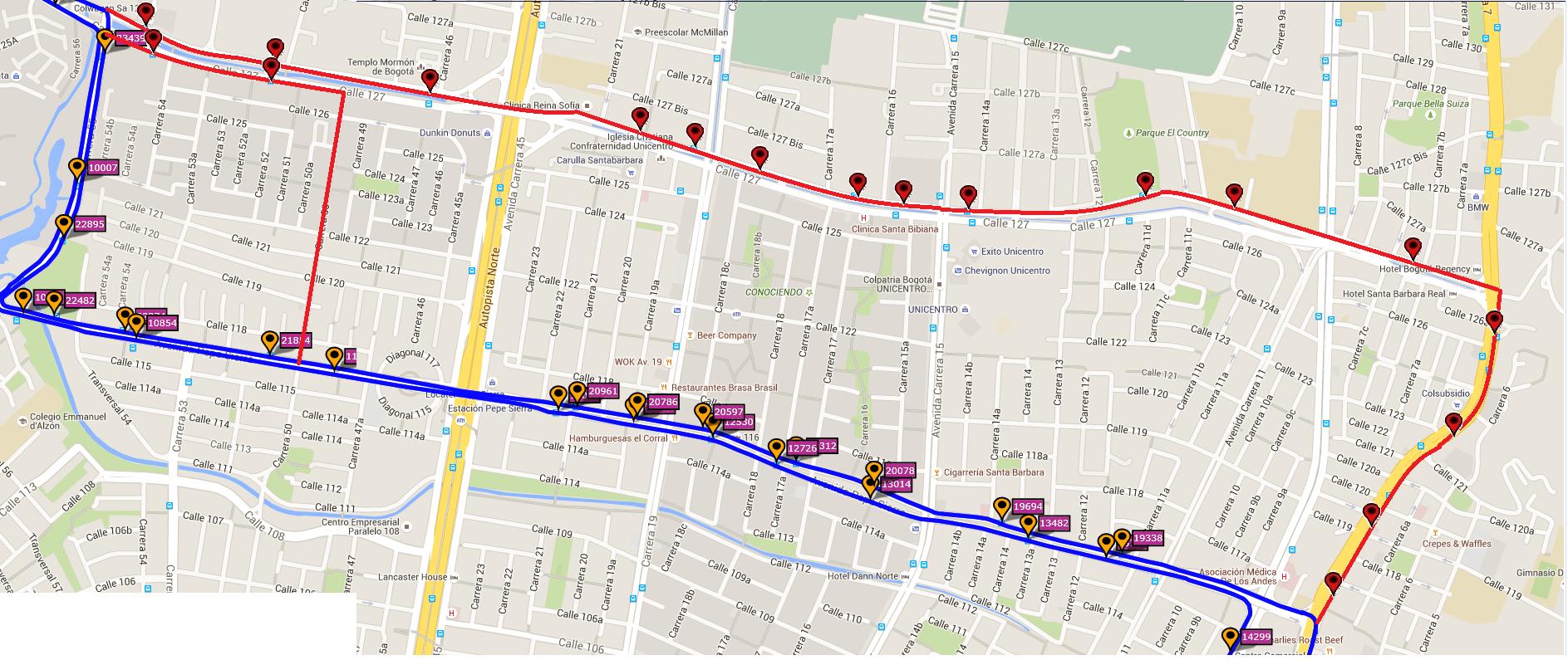 Ruta SITP: E17 Villa Gloria ↔ Chicó [Urbana] 4