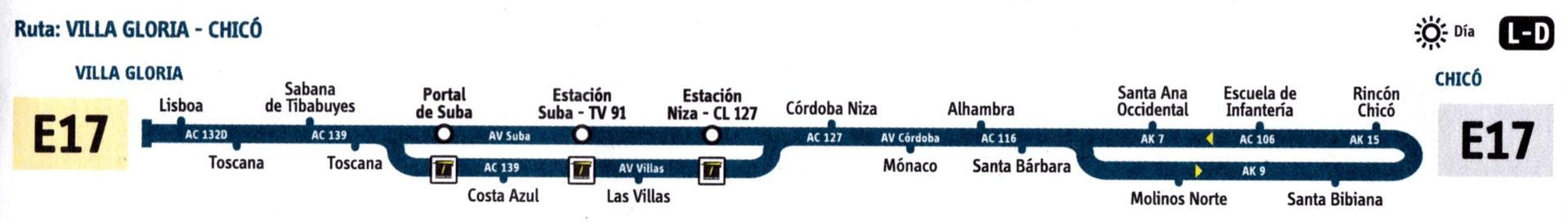 Ruta SITP: E17 Villa Gloria ↔ Chicó [Urbana] 1