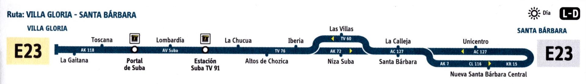 Ruta SITP: E23 Villa Gloria ↔ Santa Bárbara [Urbana] 1