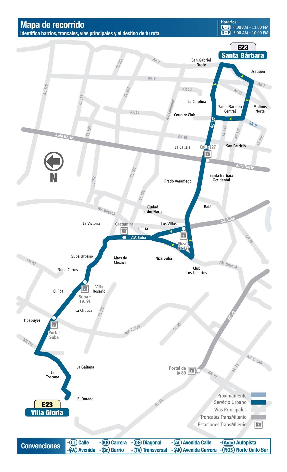 Ruta SITP: E23 Villa Gloria ↔ Santa Bárbara [Urbana] 2