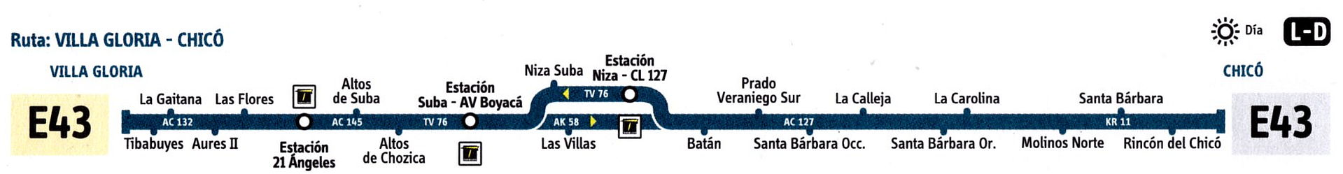 Ruta SITP: E43 Villa Gloria ↔ Chicó [Urbana] 3