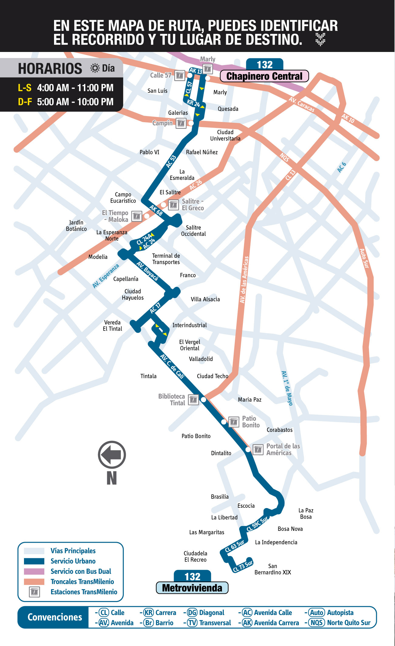 Mapa guía ruta 132 Metrovivienda - Chapinero Central