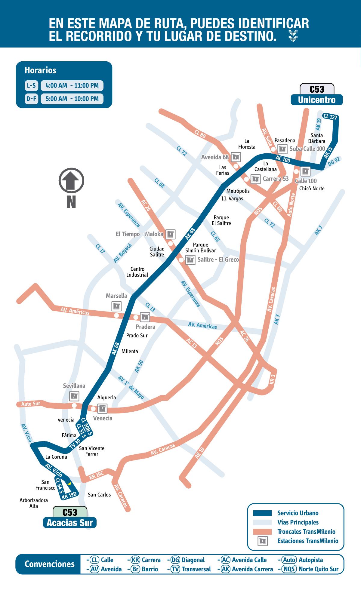 Mapa Esquemático Ruta Urbana C53