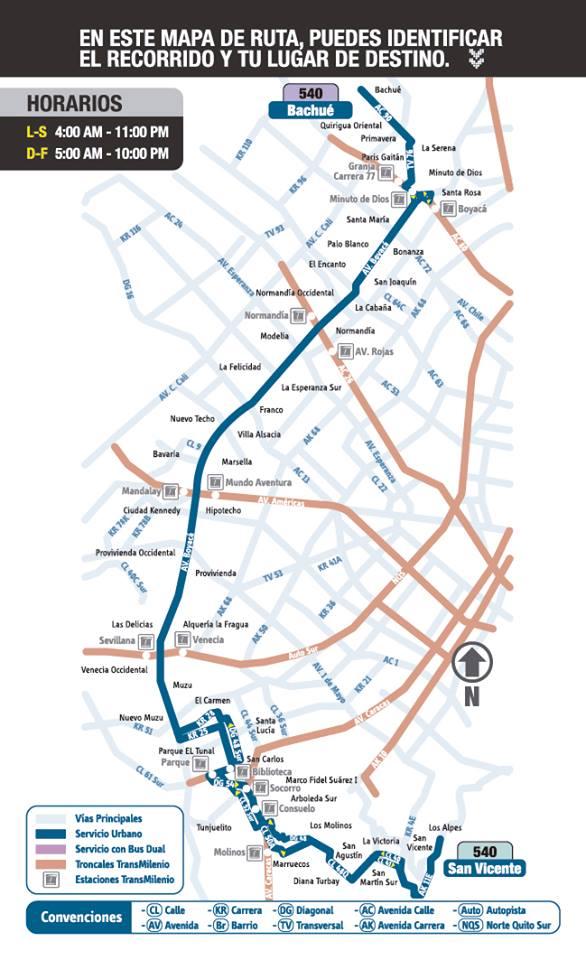 Mapa Esquemático Ruta Urbana 540