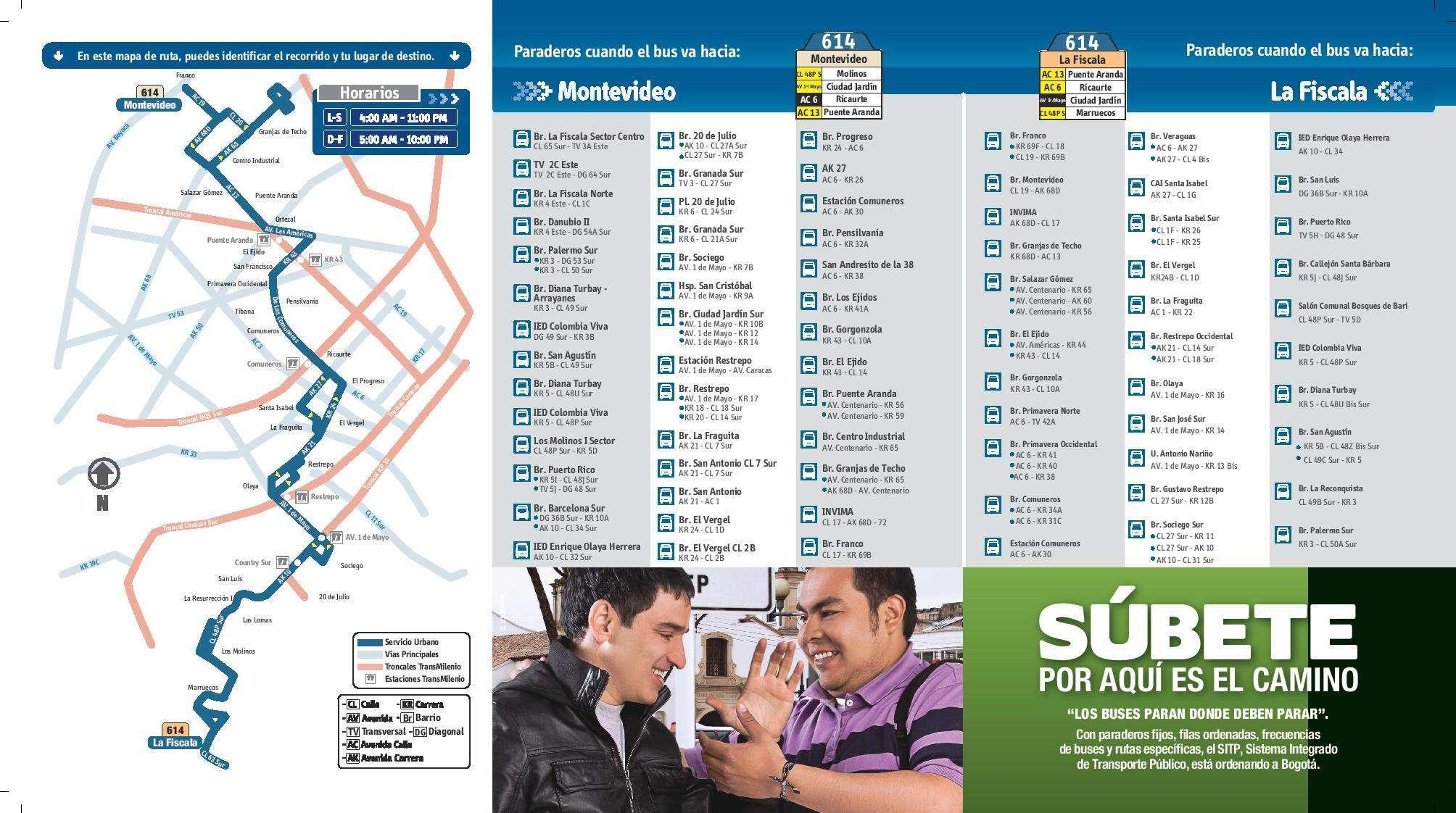 Mapa y paraderos ruta 614 ampliada