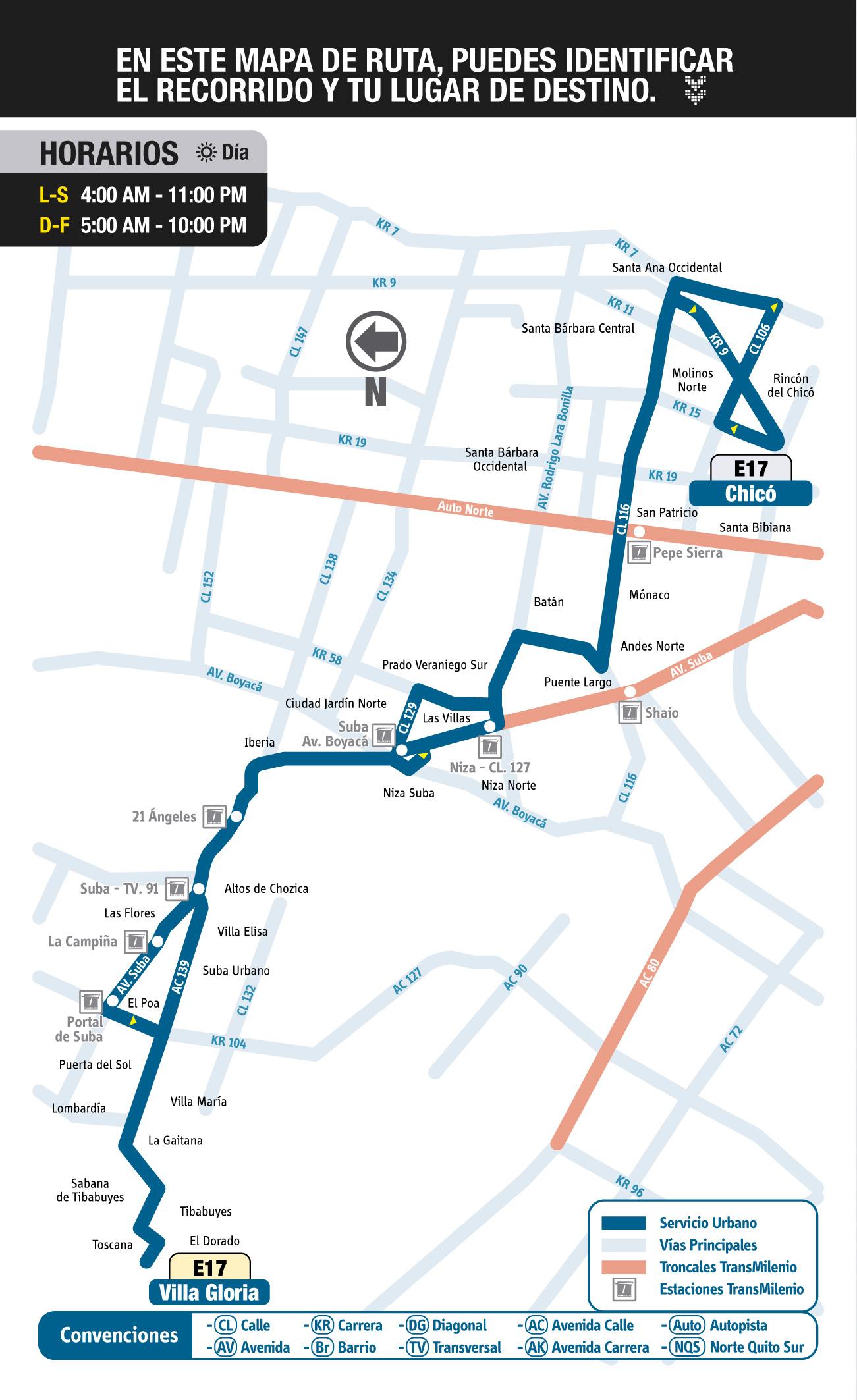 Mapa Guía Ruta Urbana E17