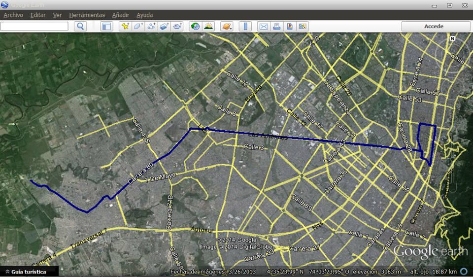 Mapa en Earth de la ruta urbana 731