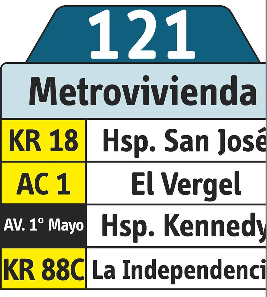 Rutero bus urbano 121 Metrovivienda