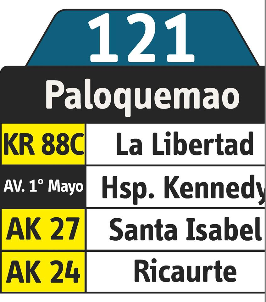 Rutero bus urbano 121 Paloquemao