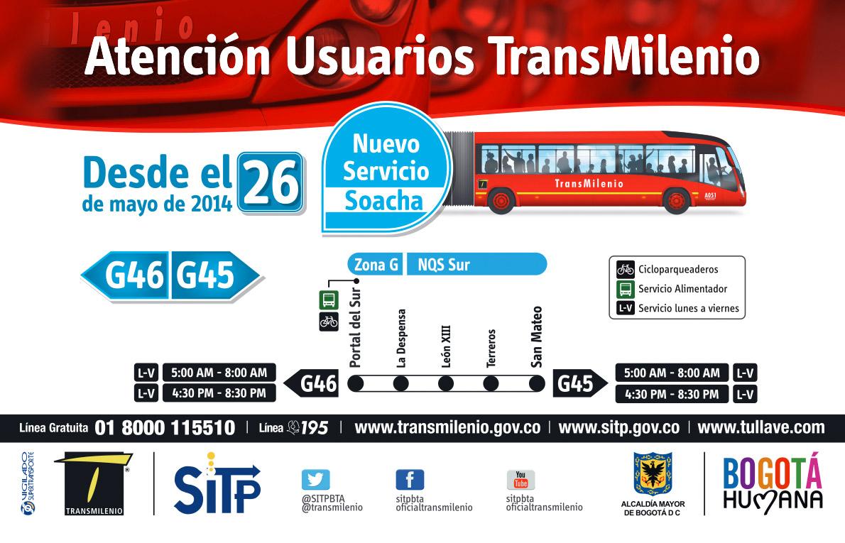 Nuevo Servicio Transmilenio G46 G45 Portal Del Sur San Mateo Bus Transito Rapido Mirutafacil