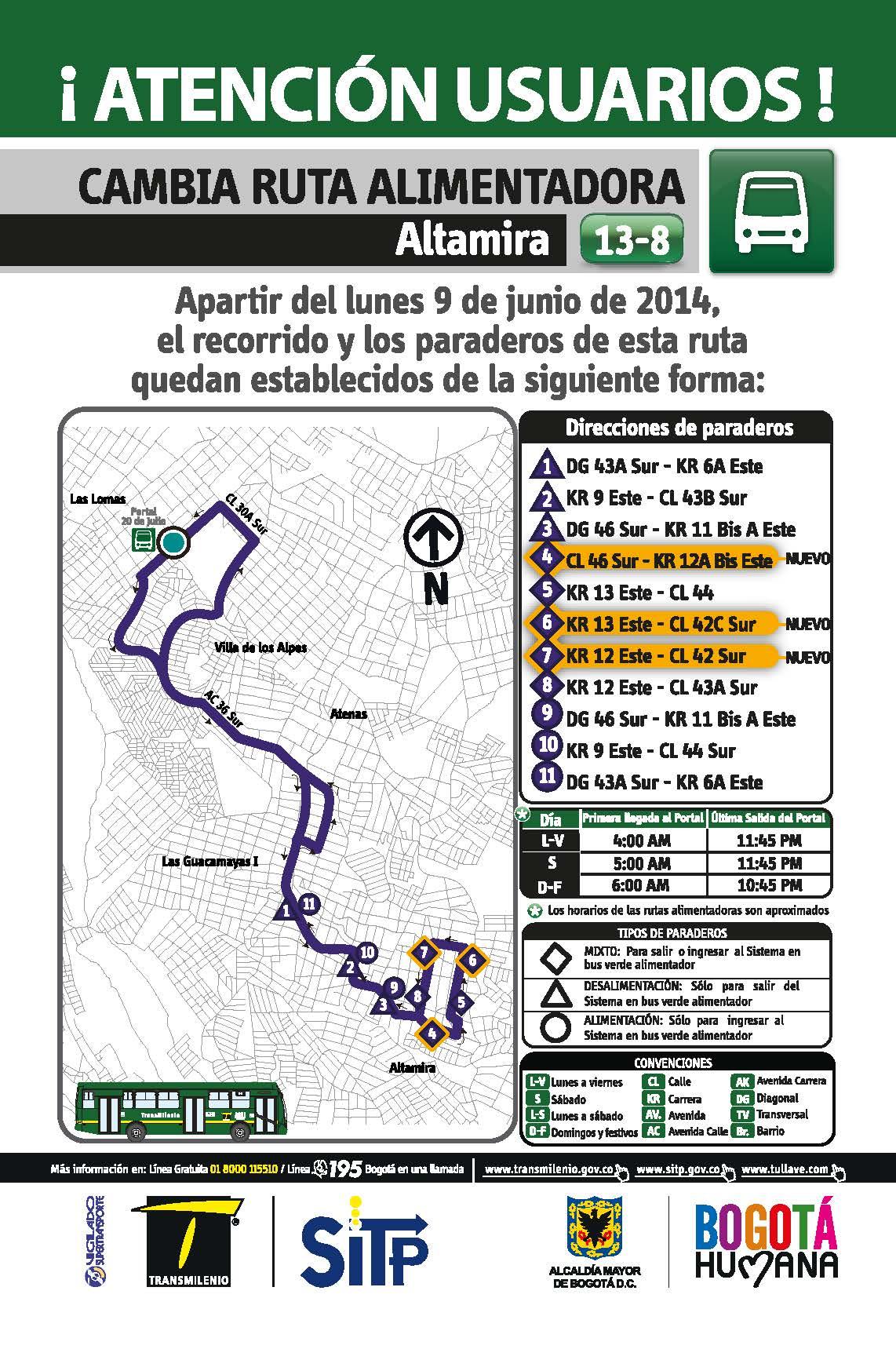Nuevo recorrido alimentador 13-8 Altamira