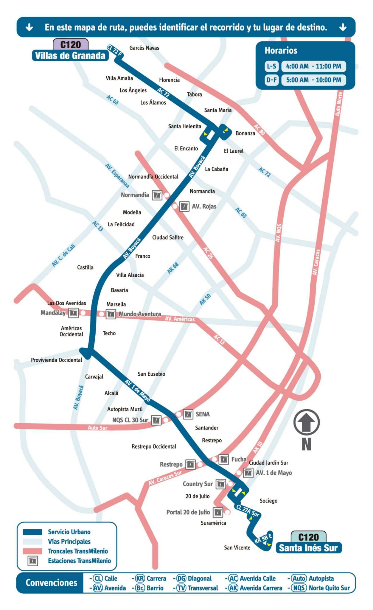 Mapa esquemático ruta urbana C120