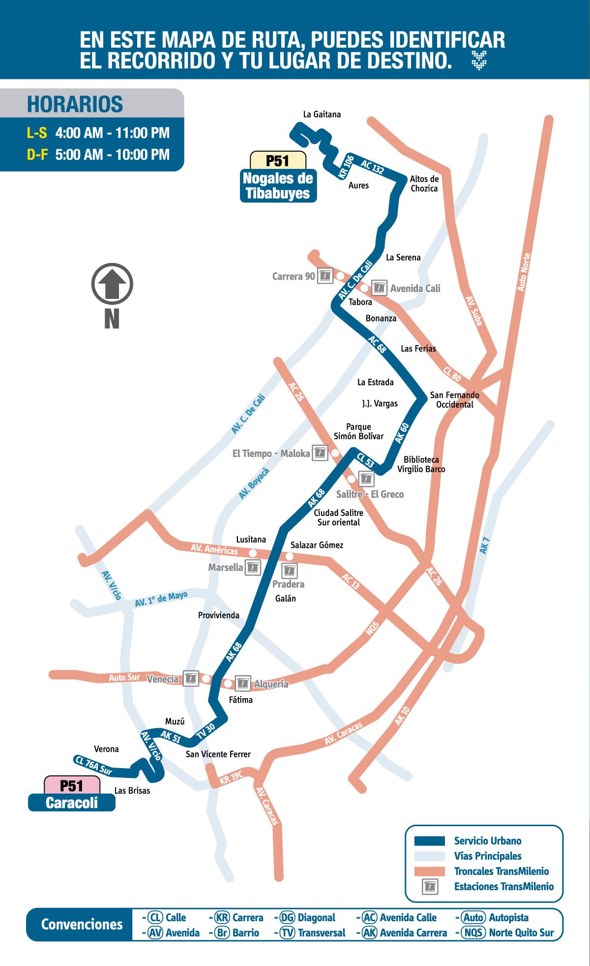 Mapa esquemático ruta P51 Nogales de Tibabuyes - Caracolí