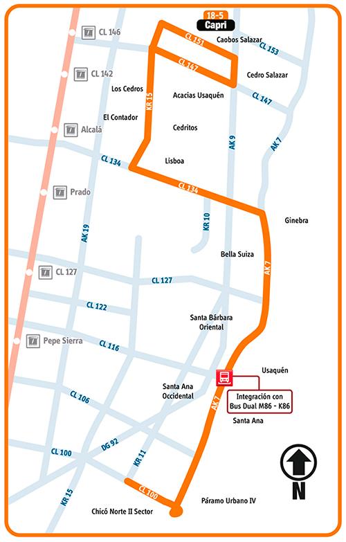 Mapa esquemático ruta COMPLEMENTARIA 18-5 CAPRI
