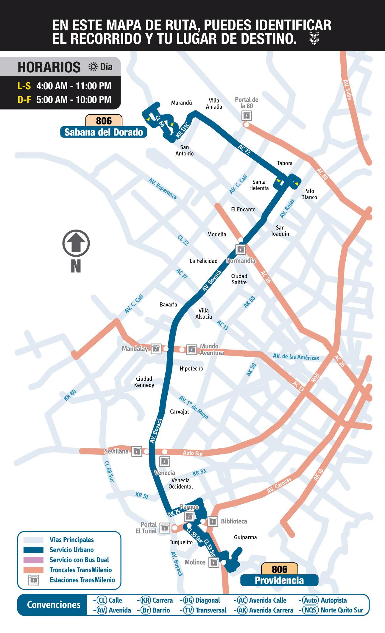 Mapa esquemático ruta urbana 806