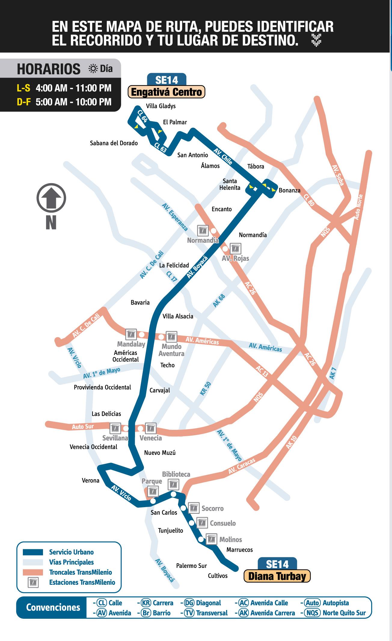 Mapa esquemático ruta urbana SE14