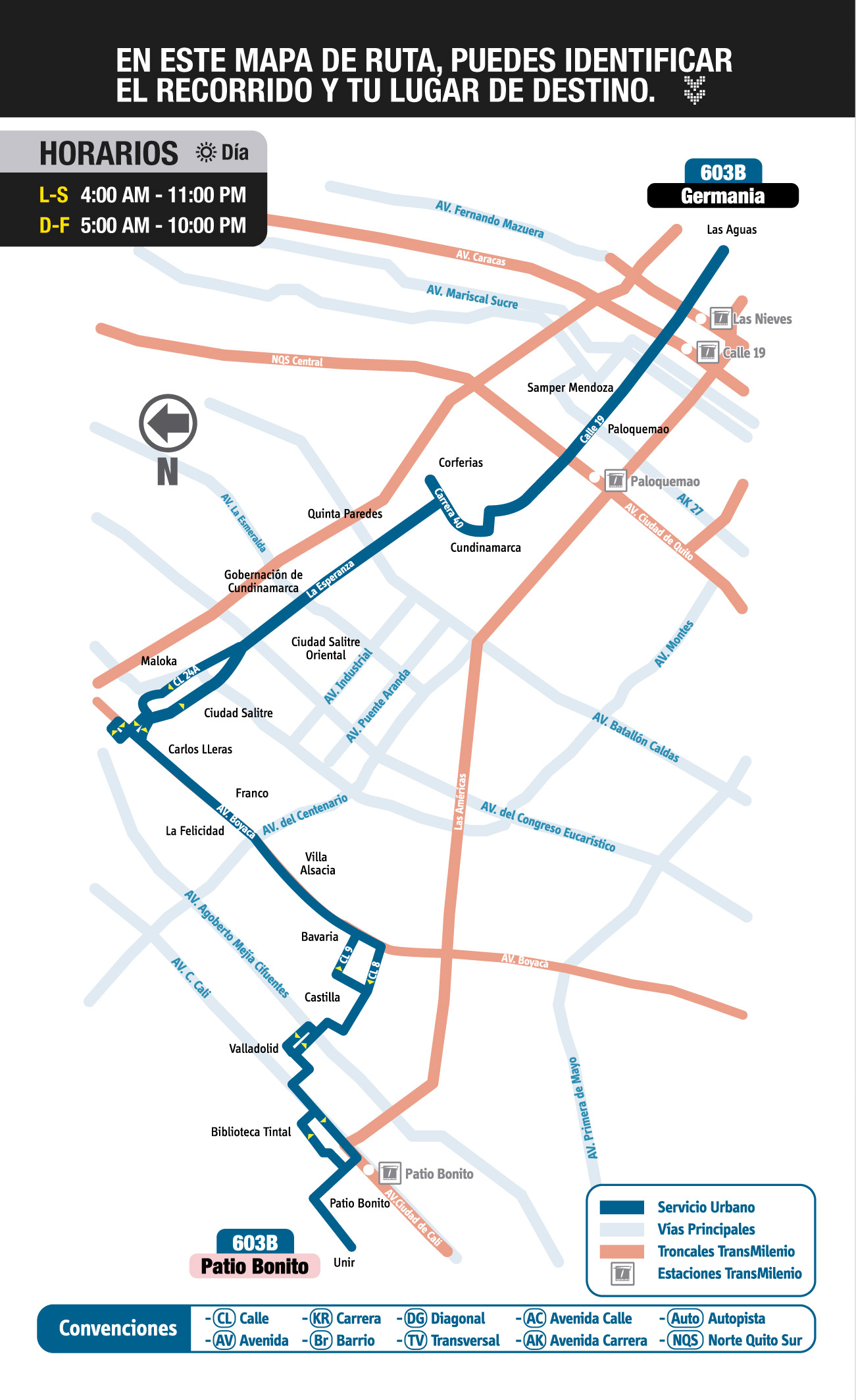 Mapa esquema ruta urbana 603B