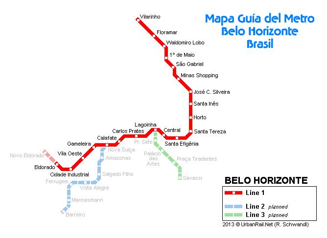 Mapa guía de la ciudad de Belo Horizonte - Brasil