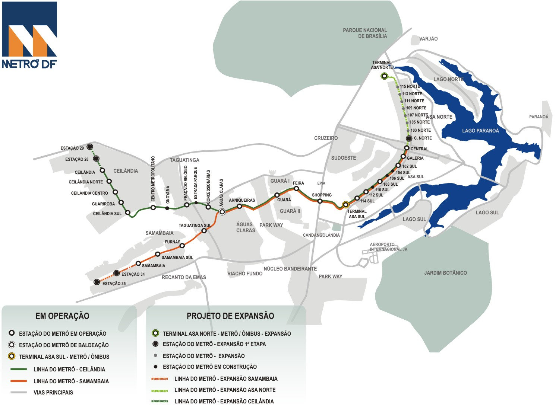 Mapa del Metro en Brasilia (Brasil)