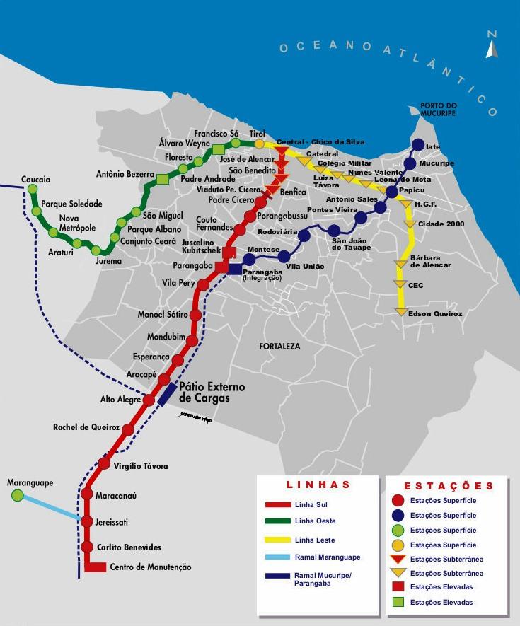 Mapa Metro Fortaleza - Brasil