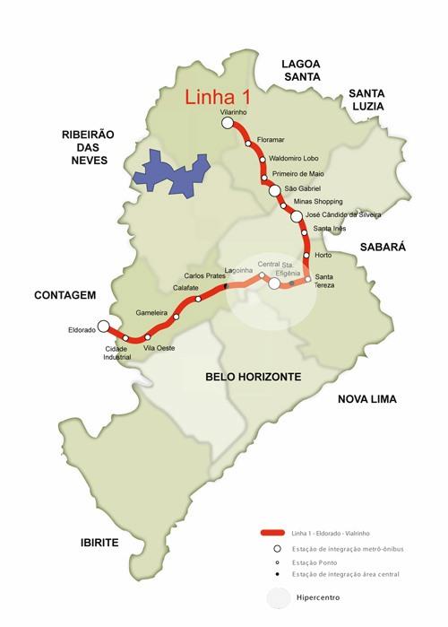 Mapa del metro de Belo Horizonte