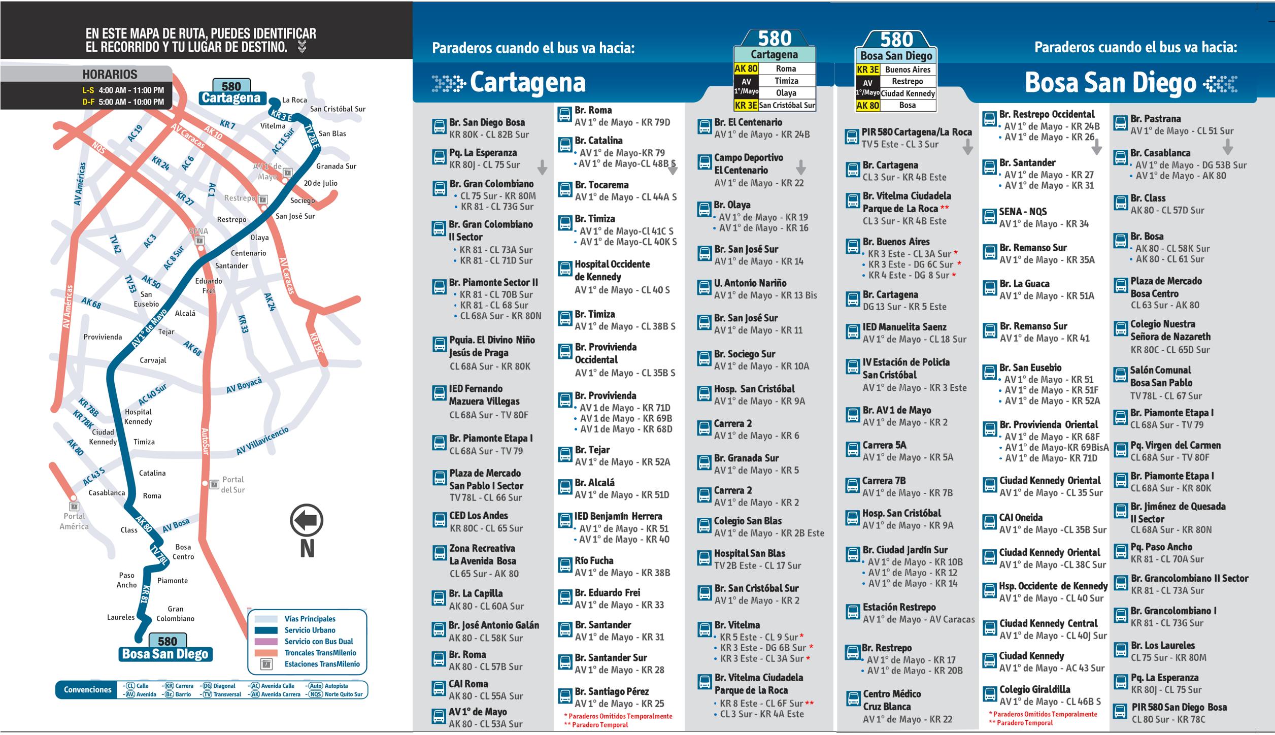 Mapa y paraderos de la urbana 580