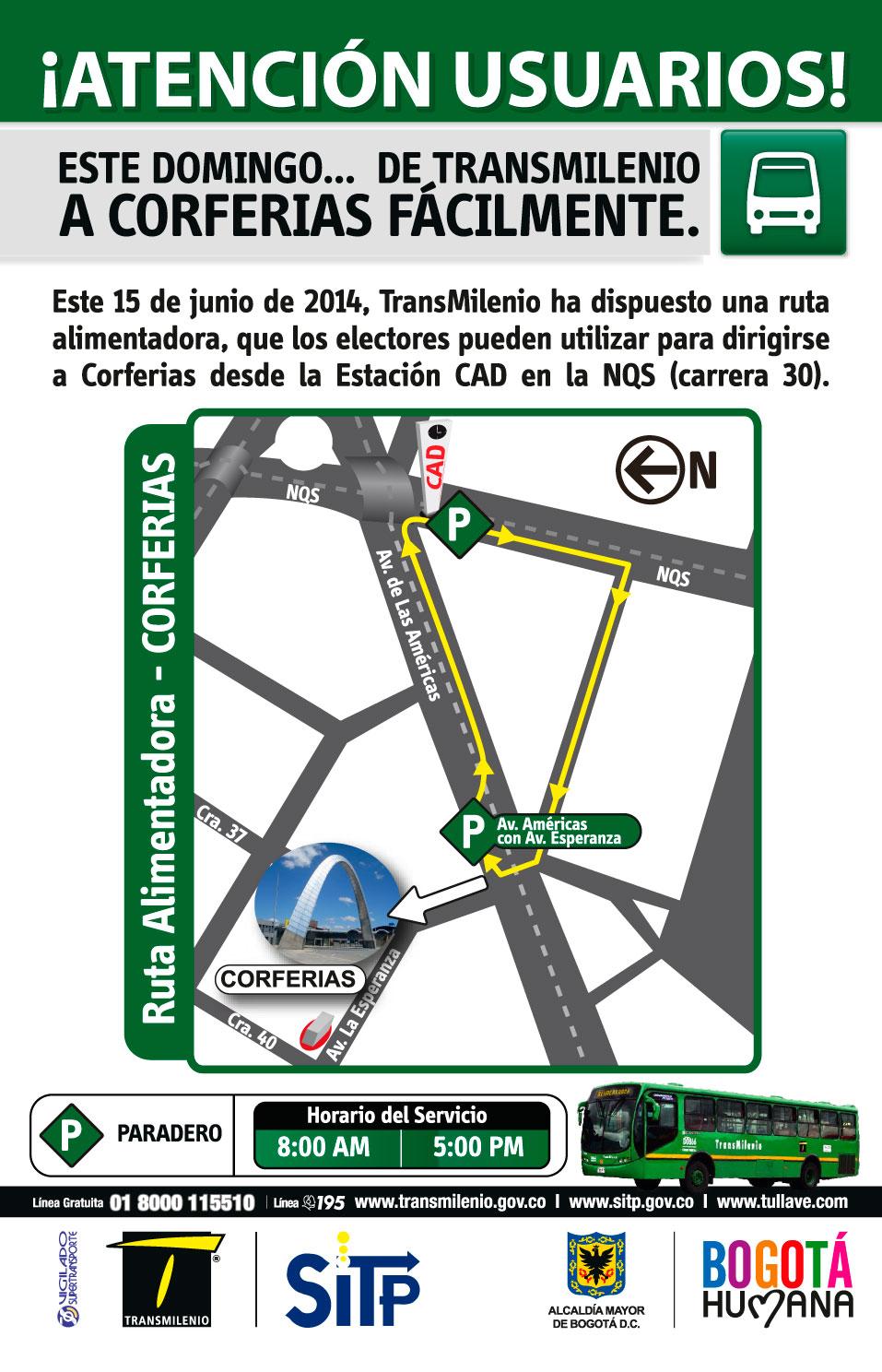 Ruta Eventual Circular Corferias (sólo 15 junio 2014)
