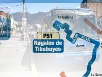 Mapa y paraderos de la ruta P51 Nogales de Tibabuyes - Caracolí