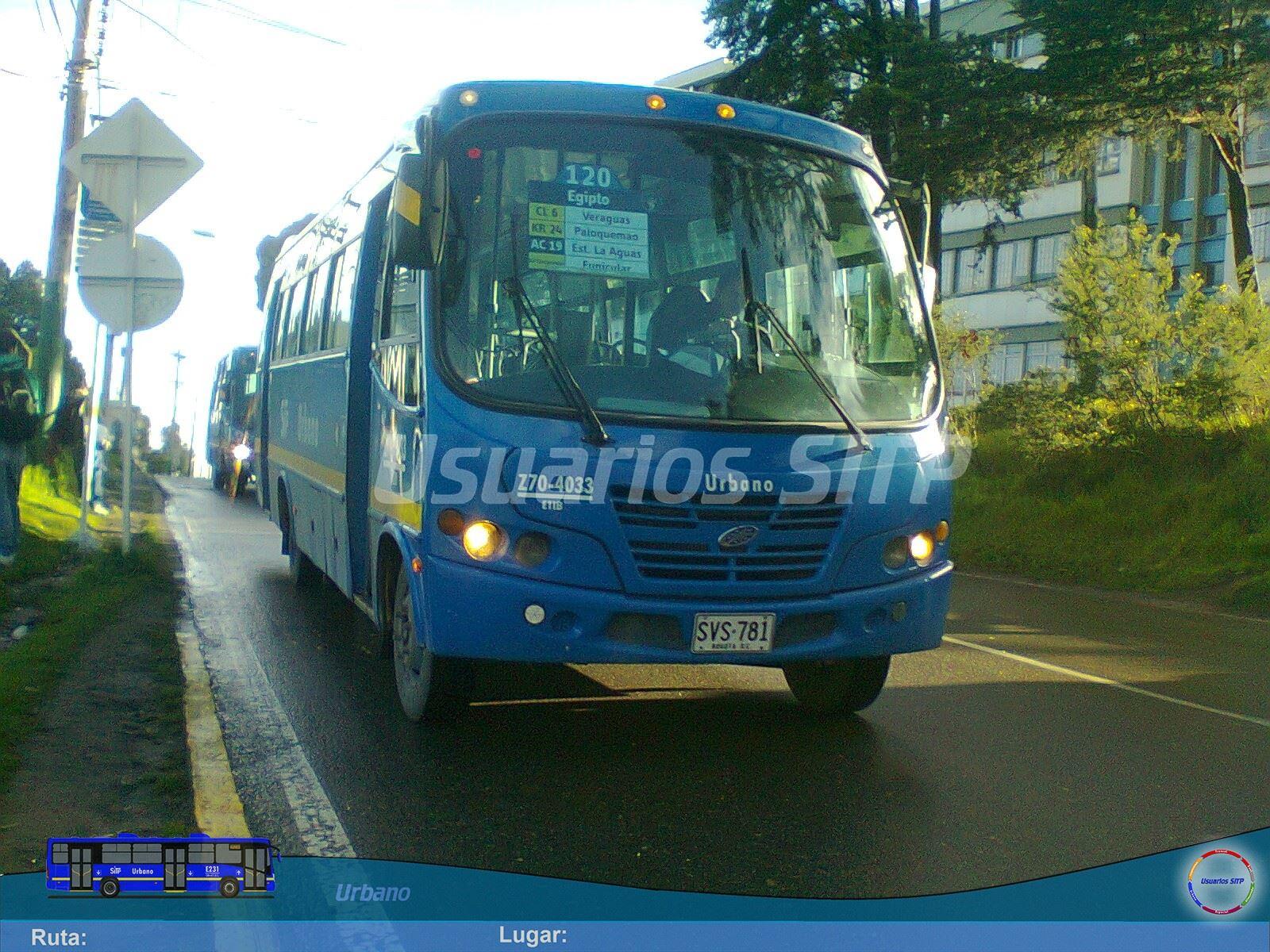 Nueva ruta urbana 120 del SITP en dirección a Egipto