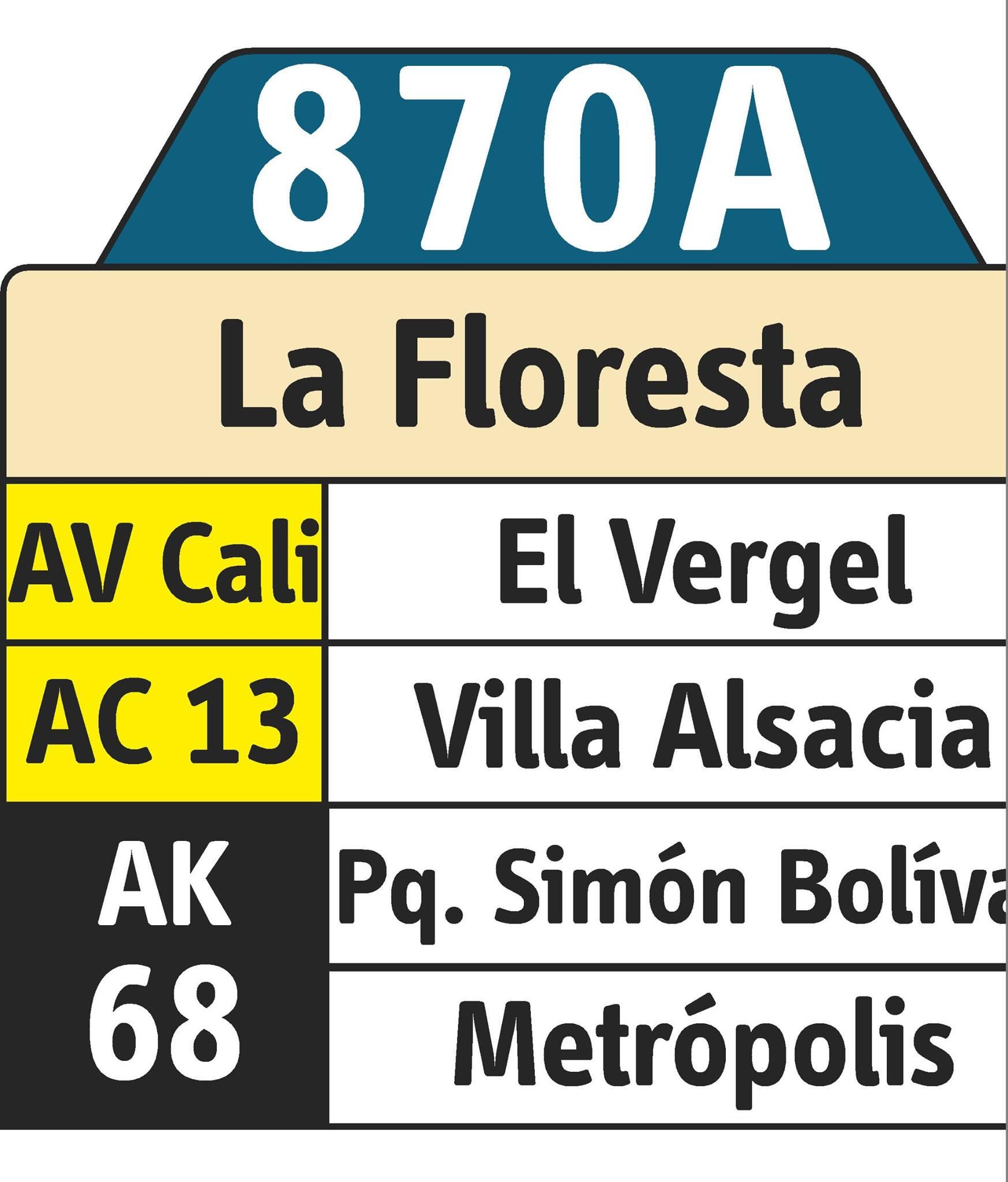 Rutero digital ruta urbana 870A - La Floresta