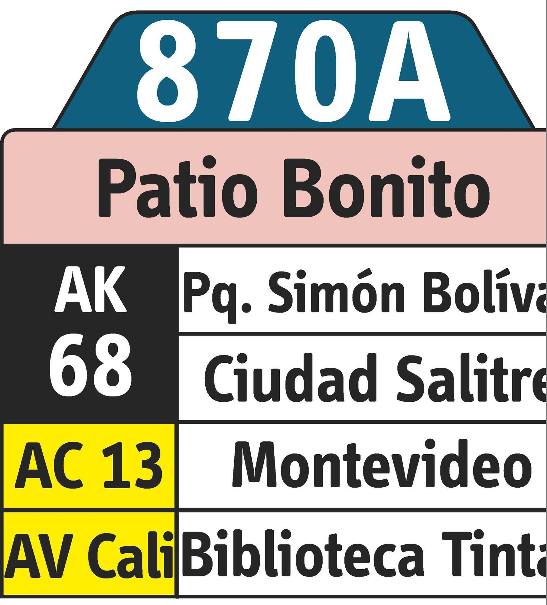 Rutero digital ruta urbana 870A - Patio Bonito