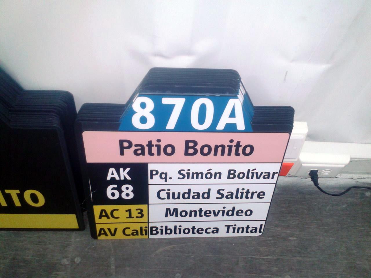 Ruta urbana 870A Patio Bonito