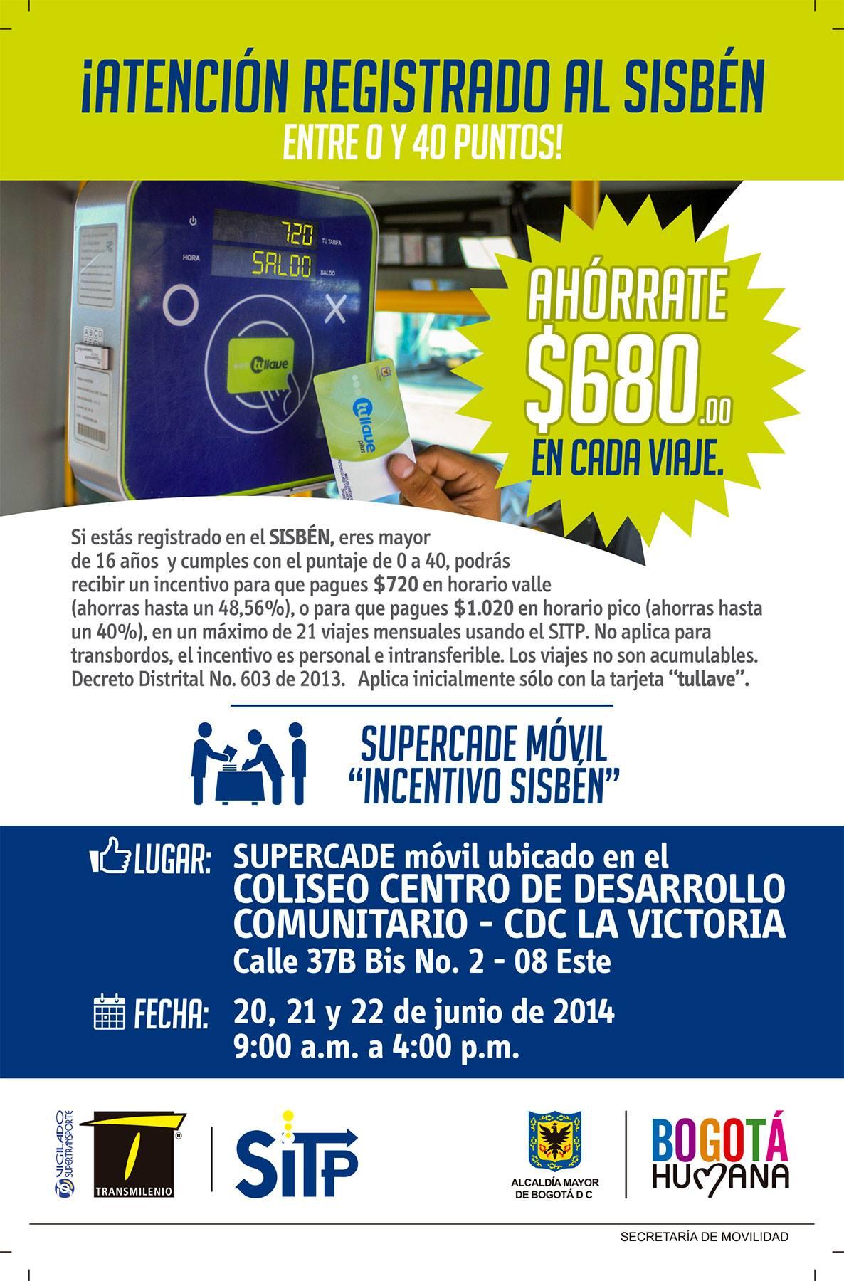 Llega el SUPERCADE móvil al barrio La Victoria, en la localidad de San Cristóbal, donde los usuarios con Sisbén entre 0 y 40 puntos podrán solicitar el incentivo para el SITP.