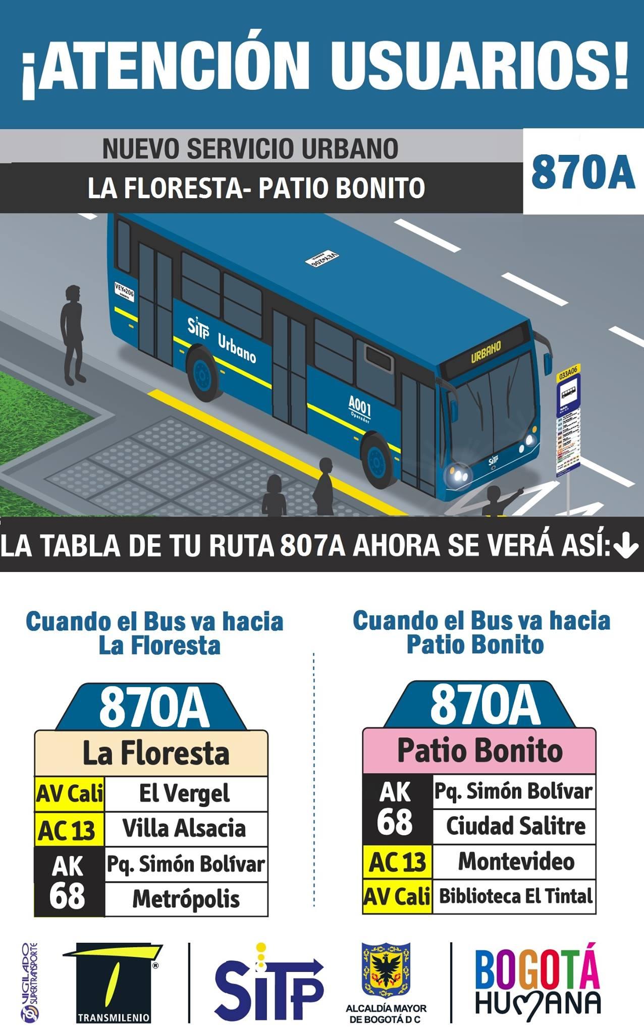 Volante ruta urbana 870A La Floresta - Patio Bonito
