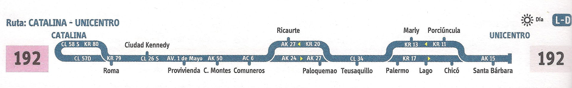 Ruta SITP: 192 Catalina ↔ Unicentro [Urbana] 3
