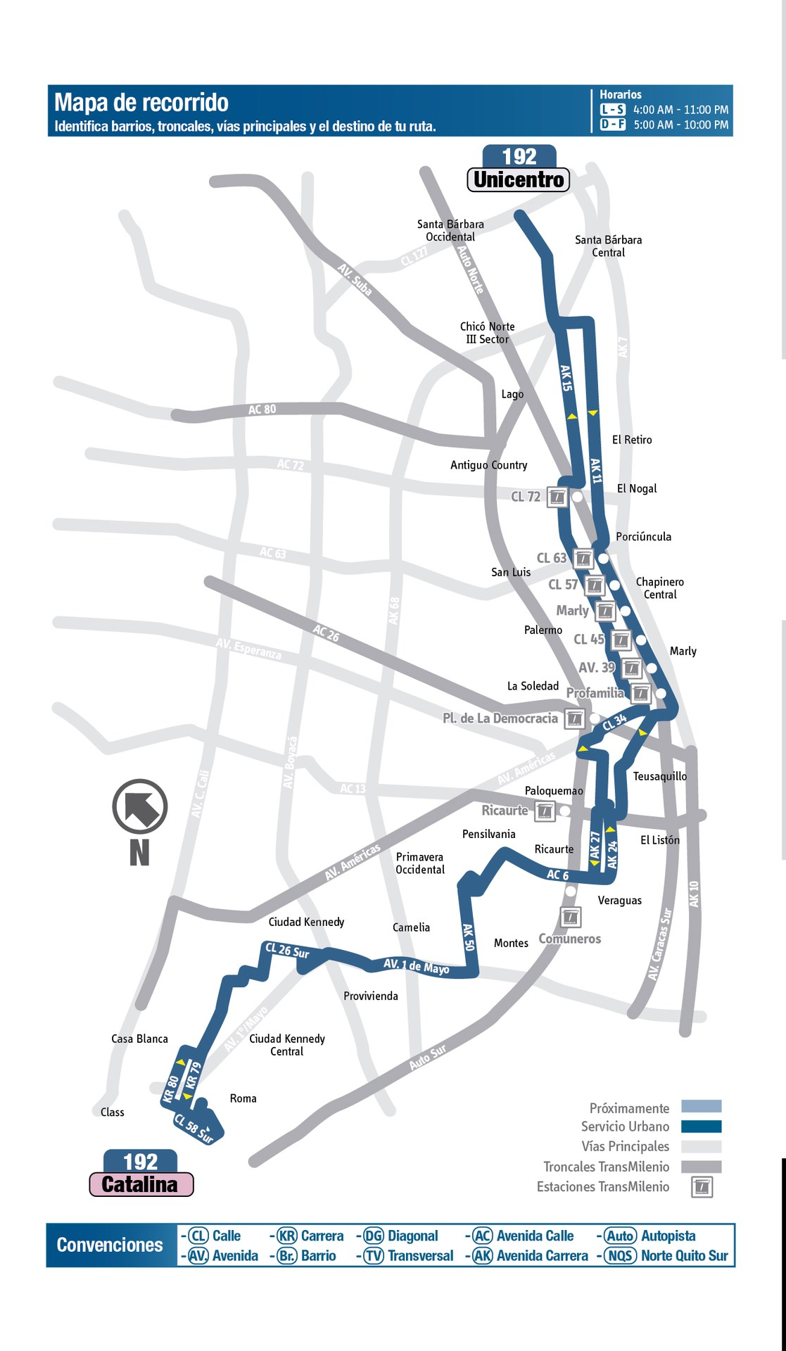 Ruta SITP: 192 Catalina ↔ Unicentro [Urbana] 4