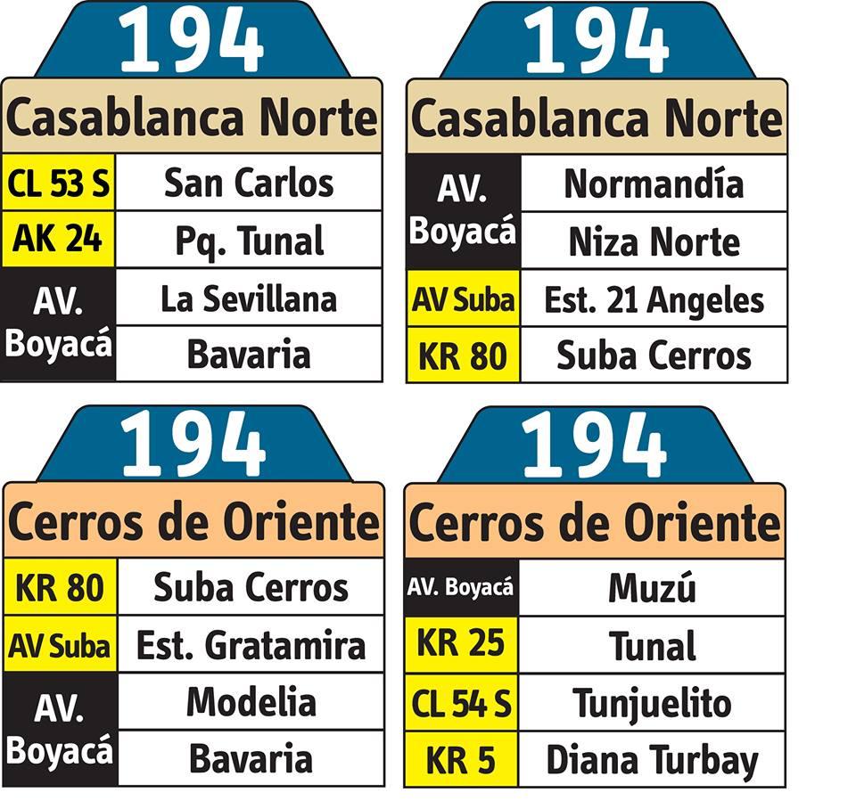 Tablas ruta urbana 194