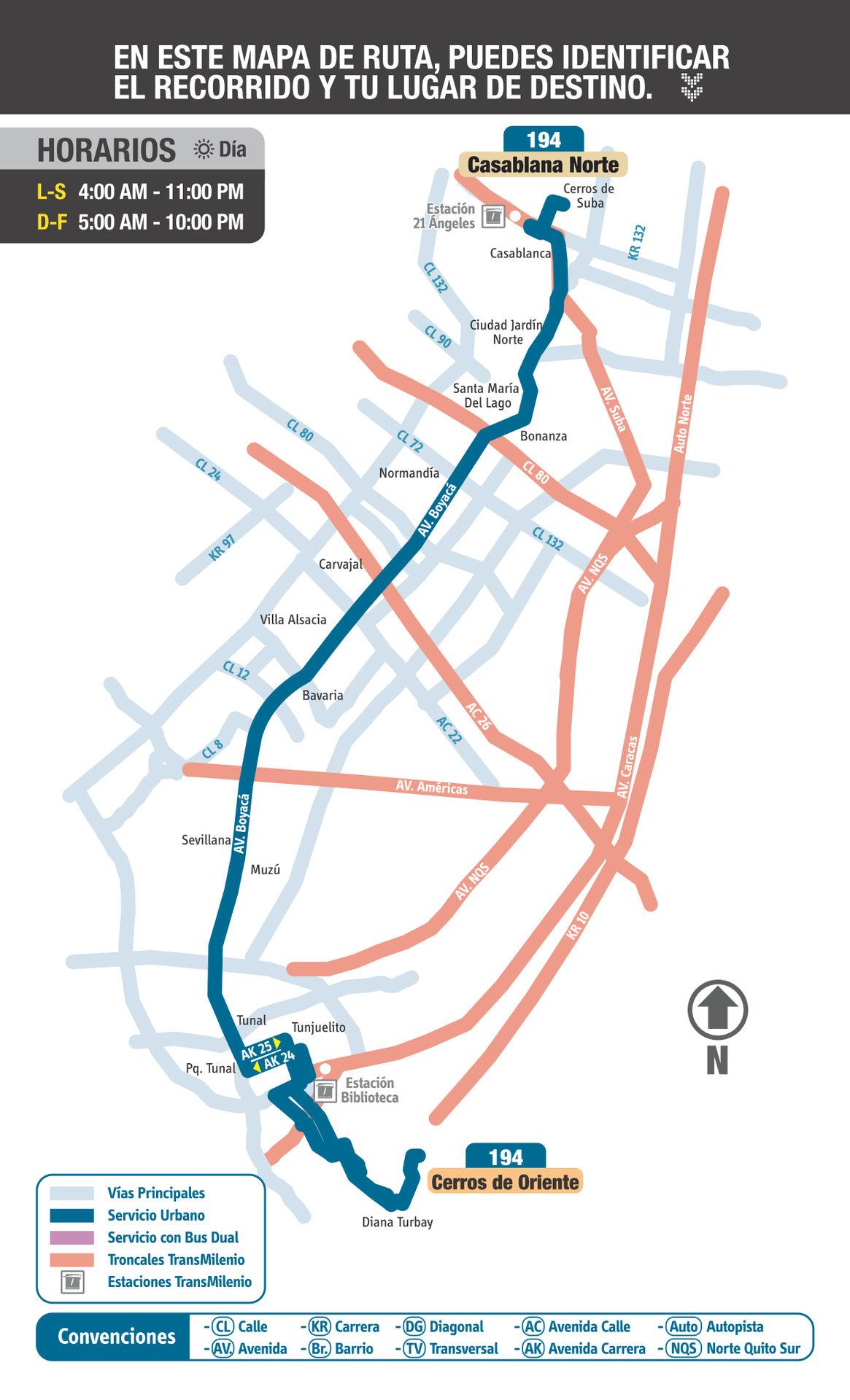 Ruta SITP: 194 Casa Blanca Norte ↔ Cerros Oriente [Urbana] 7