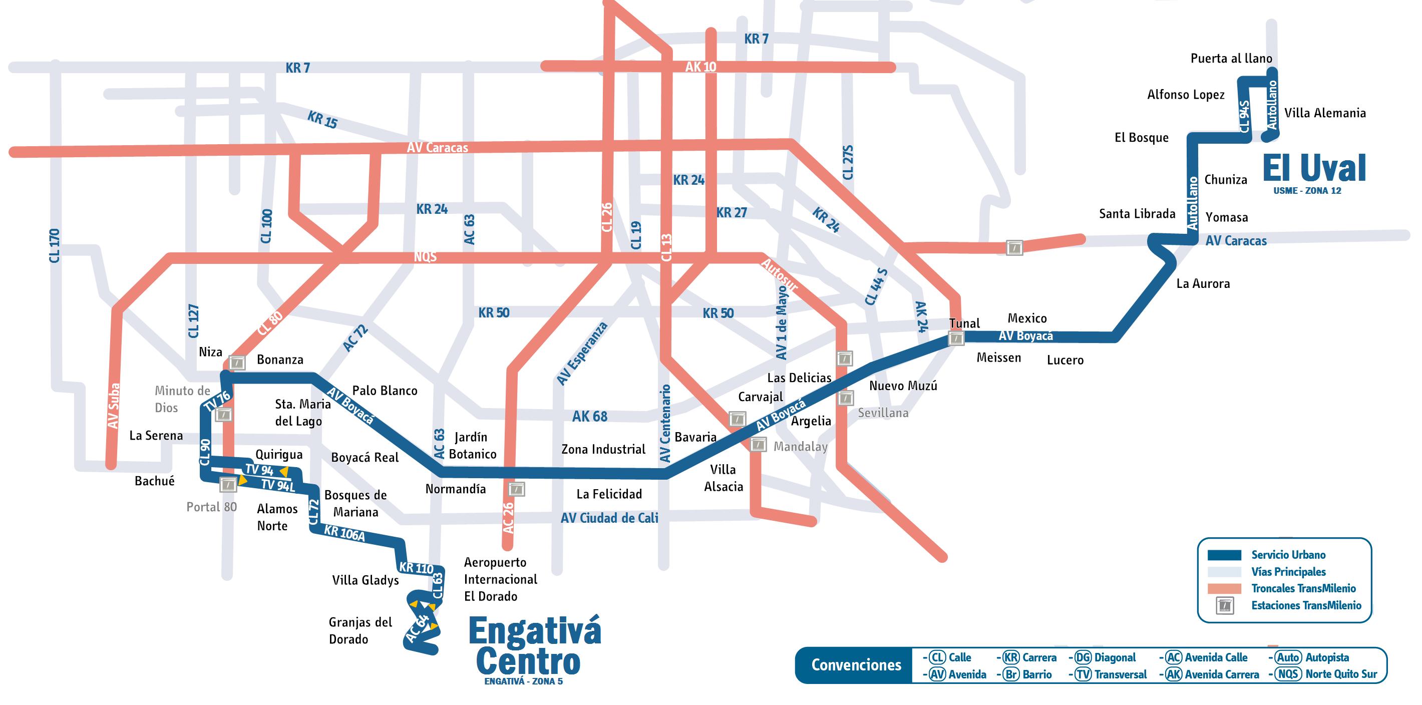 Mapa ruta urbana 539