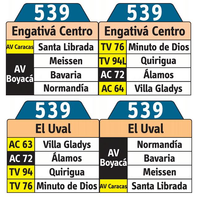 Tablas de la ruta urbana 539