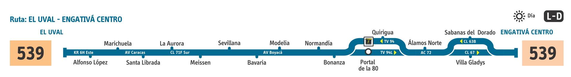 Ruta SITP: 539 Engativá Centro ↔ El Uval [Urbana] 5